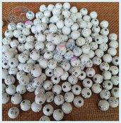 Lotto 25 perle acrilico 8 mm con strass BIANCO