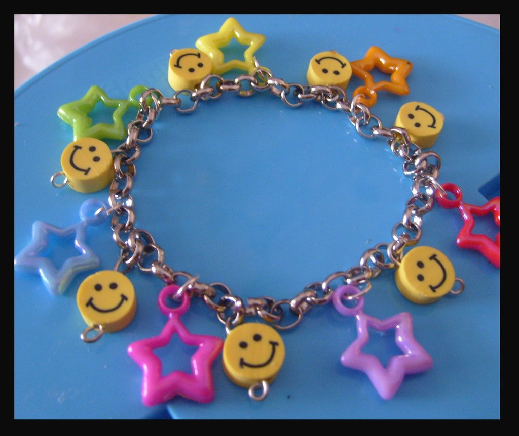 Bracciale stelline colorate e smile