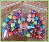 Lotto 25 perle acrilico 8 mm con strass colori misti