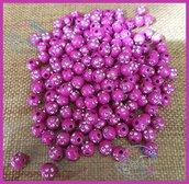 Lotto 25 perle acrilico 8 mm con strass colore FUXIA