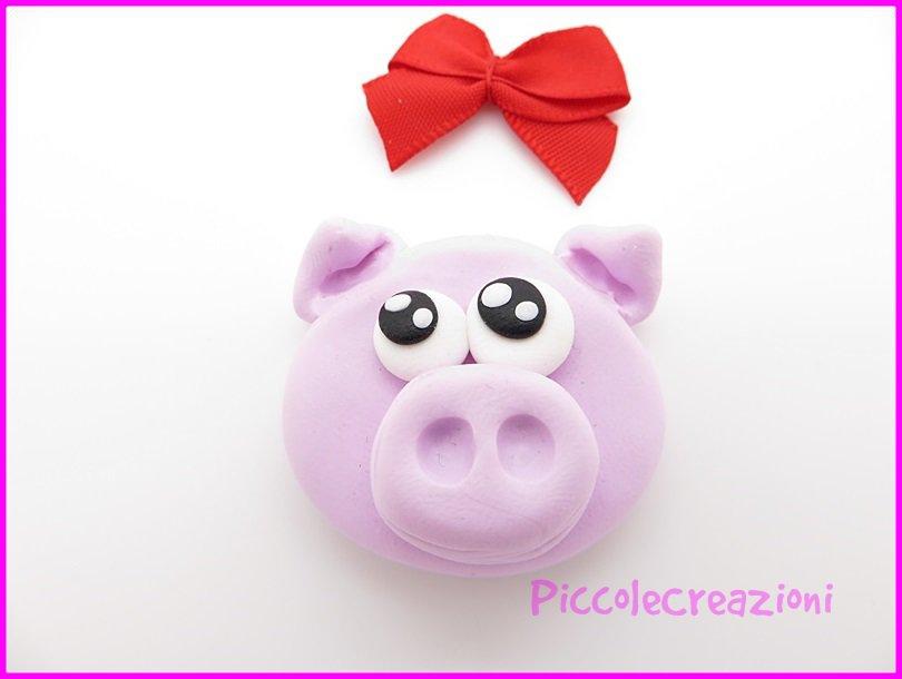 CALAMITA MAIALINO PIG FIMO HANDMADE