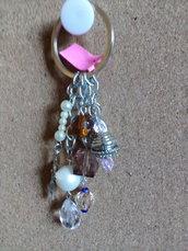 Portachiavi perline e ciondoli multicolore