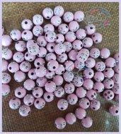 Lotto 25 perle acrilico 8 mm con strass ROSA