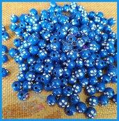 Lotto 25 perle acrilico 8 mm con strass BLU