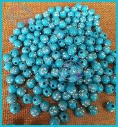 Lotto 25 perle acrilico 8 mm con strass CELESTE
