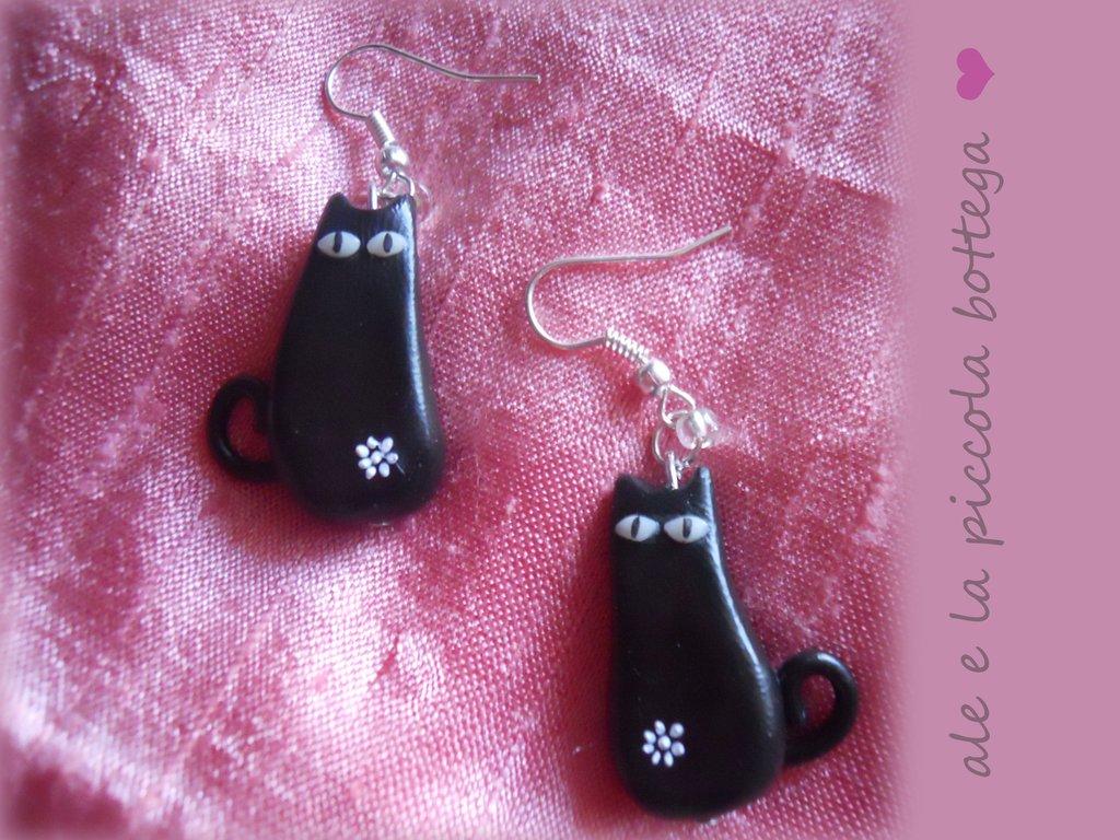 Orecchini gatti neri