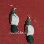 orecchini  agata verde a forma di perla e a forma di goccia  aulite