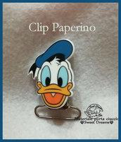 Clip per catenella portaciuccio in metallo e resina *PAPERINO*