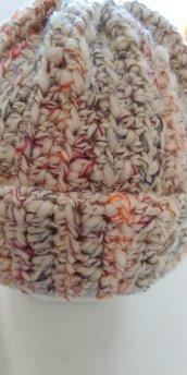Cappello di lana dai colori sfumati beige arancio grigio bordeaux blu, caldo e morbido realizzato a uncinetto