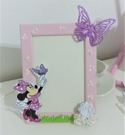 Cornice in legno minnie e farfalla. Glitter. Bambina idea regalo portafoto. Cartoni animati. Perline. Rosa. Topolina