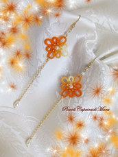 Orecchini gialli al chiacchierino, perle bianche, Argento 925 dorato