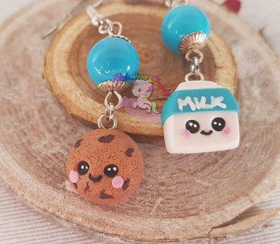 orecchini kawaii in fimo latte e biscotti- kawaii cookie & milk