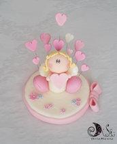 Cake topper angelo con cuore base fiorellini fiocco e pioggia di curicini