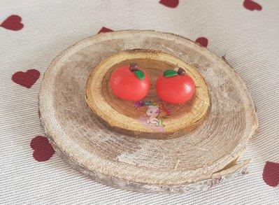 orecchini in fimo mele rosse- apple earring