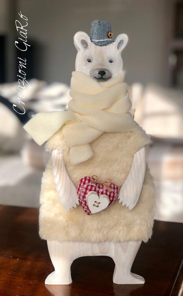 Orso bianco  in legno