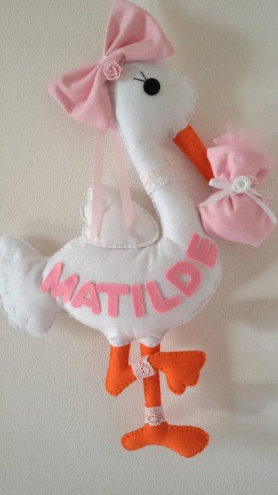 Inserzione riservata fiocco nascita cicogna Matilde