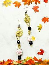 Orecchini wire e perle di carta-orecchini da donna-orecchini pendenti-orecchini riciclati-orecchini grandi