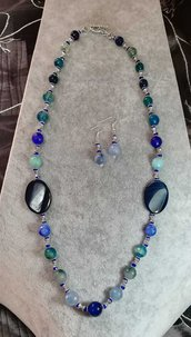 Collana lunga stile etnico + orecchini GRATIS pietre agata sfumature blu verde acqua azzurro