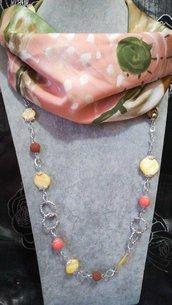 3in1 Foulard + Collana gioiello Pietre dure, pietra lavica, madreperla rosa verde