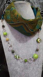 3in1 Foulard + Collana. Pietre dure, pietra lavica, madreperla, agata, porcellana, vetro di murano