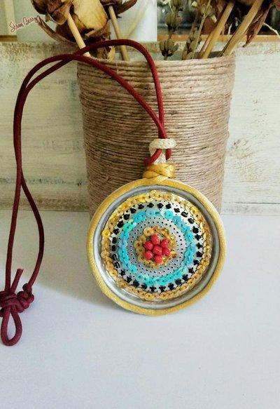Ciondolo etnico,Gioielli riciclati-Ciondolo maxi,-pendente collana-gioielli di metallo,gioielli artigianali-gioielli eco friendly