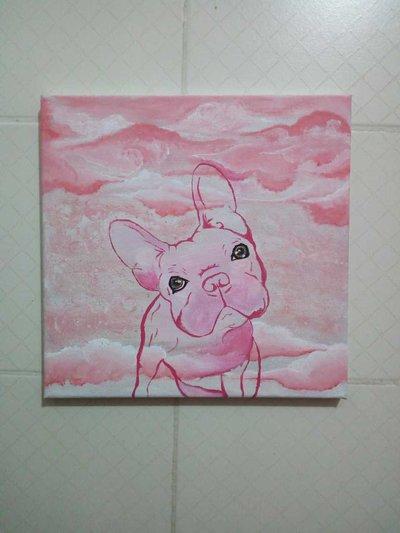 Quadro Bulldog Francese dipinto acrilico su tela 25x25 cm quadrato fatto a mano