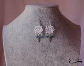 Orecchini Pendenti uncinetto cristalli azzurri ciondolo piuma argento tibetano