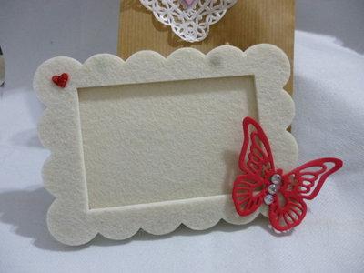 Cornice foto in feltro con farfalla e cuore. Colori personalizzabili. Idea san valentino, mamma, compleanno