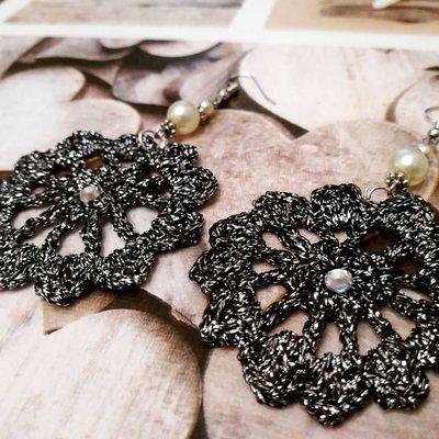 Orecchini nero argento