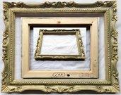 PER STAMPE E FOTO - CRH - Misure Interne 40,5X30,8 cm NUDA CORNICE BAROCCO FRANCESINA IN LEGNO CON RILIEVI PASTELLATI – ORO PIENO ZECCHINO medippolito