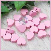 Lotto 10  cuoricini in legno rosa