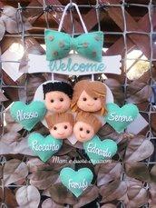 Fuoriporta cuore in legno Famiglia Personalizzato