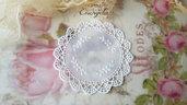 Centrino 8 cm. bianco pvc decorazione, per creare set miniature bigiotteria accessori abbellimenti