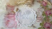 Centrino 8 cm. bianco fiori pvc decorazione, per creare set miniature bigiotteria casa bambole abbellimenti