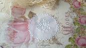Centrino 7 cm. bianco fiori pvc decorazione, per creare set miniature bigiotteria casa bambole abbellimenti