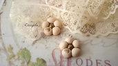 Ciondolo fiore avorio dorato minuteria materiale per creare bigiotteria accessori bomboniere abbellimenti