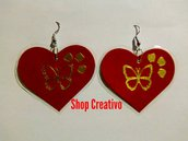 Orecchini cuore rosso pendenti San Valentino