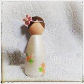Bomboniera comunione in legno angelo con fiori