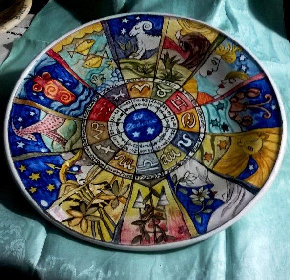 Piatto murale di ceramica artistica dipinto a mano con segni zodiacali moderni