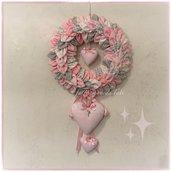 Fiocco nascita petaloso con petali e cuori nei toni rosa e grigio