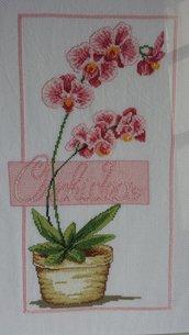 Ricamo a mano punto croce orchidea rosa vaso fiori quadro arredamento casa cross