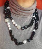 Collana nera lunga corta doppio giro pietre dure Agata Onice argento tibetano