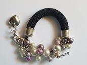 bracciale cordone e perle