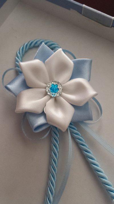 Coccarda fiore bomboniera nascita battesimo nastro raso cordoncino seta
