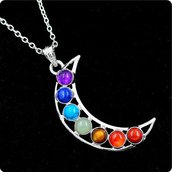 Collana catenina luna argento con 7 pietre chakra