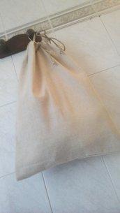 Sacca porta pane in lino grezzo
