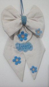 Fiocco nascita bimbo in avorio, azzurro e turchese