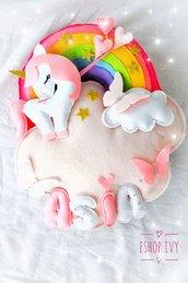 Fiocco nascita unicorno con nuvola ed arcobaleno