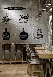 Composizione 6 disegni adesivi ristorante
