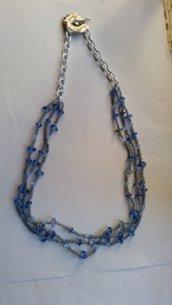 Collana perle di vetro azzurre